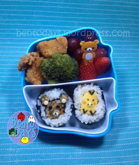 Rilakkuma sushi, Kiiroitori sushi (san-x) Cute bento lunch for kids.