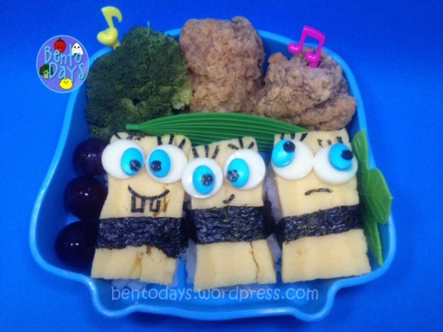 Spongebob sushi bento - tamago nigiri sushi, Cute lunch idea for kids