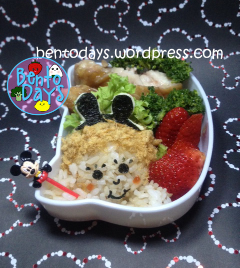 Bento lunch of onigiri of child with Mickey Mouse hairband, cute lunch idea for kids