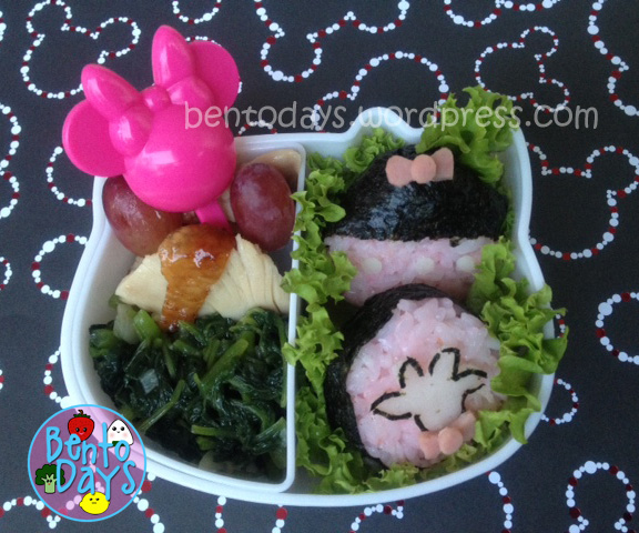 Minnie Mouse inspired sushi and onigiri bento lunch set