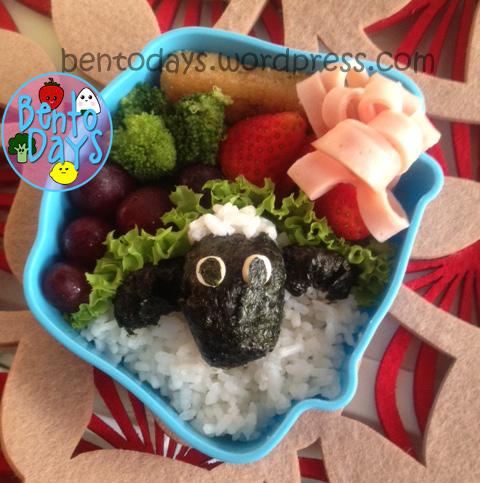 Shaun the Sheep bento (onigiri rice version)