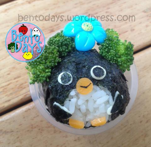Penguin bento - penguin onigiri in a cup bento