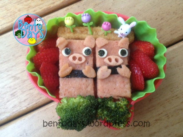 Luncheon meat sushi pigs bento