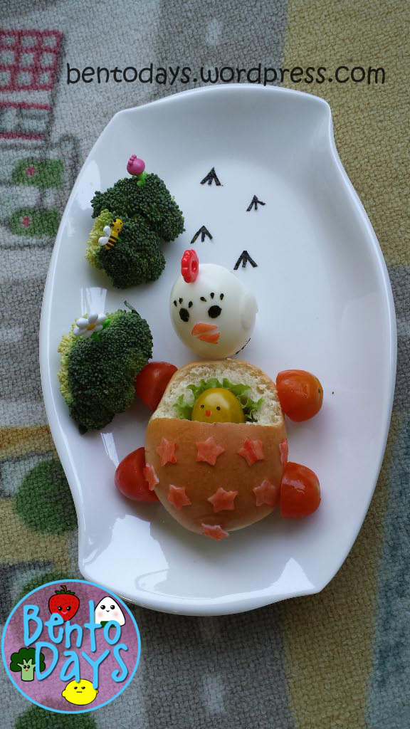 Bento snack: Hen and chick in a pram