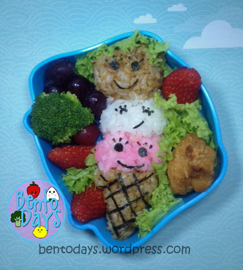 Ice cream cone bento using onigiri