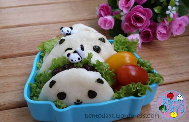 Braised pork belly buns bento (panda bento)