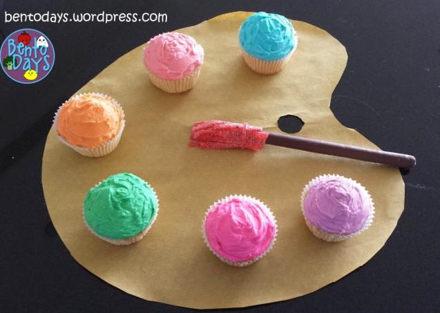 Artist's Palette Cupcakes, painter's cupcakes, rainbow cupcakes | Bento Days