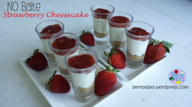 No Bake Strawberry Cheesecake | Bento Days