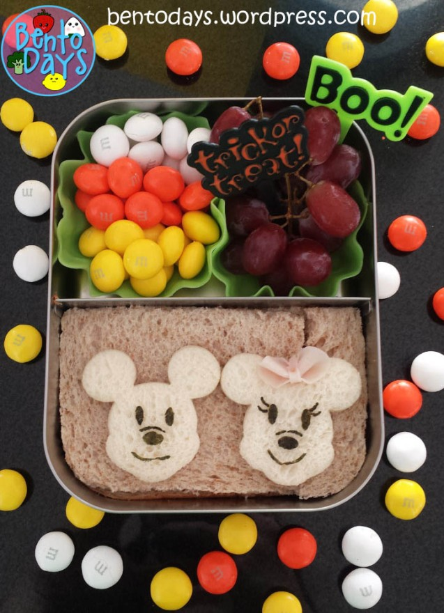 Halloween Bento: Mickey and Minnie ghosts | Bento Days