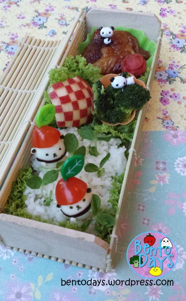 Panda bento: Quail egg pandas with apple hats and bamboo shoots | Bento Days
