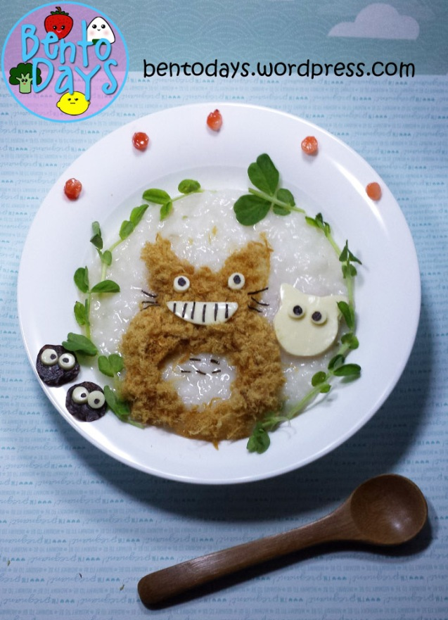 Totoro Bento: Totoro Porridge Food Art | Bento Days