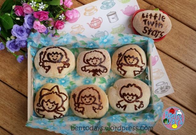 Handpainted Little Twin Stars Kaya bread buns | Bento Days