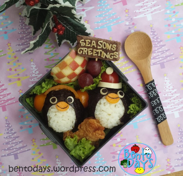 Christmas bento, winter bento: penguin onigiri | Bento Days