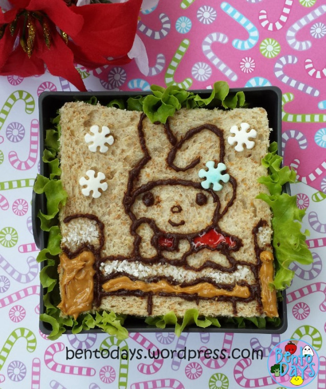 Christmas bento: My Melody on a snow-covered railing | Bento Days