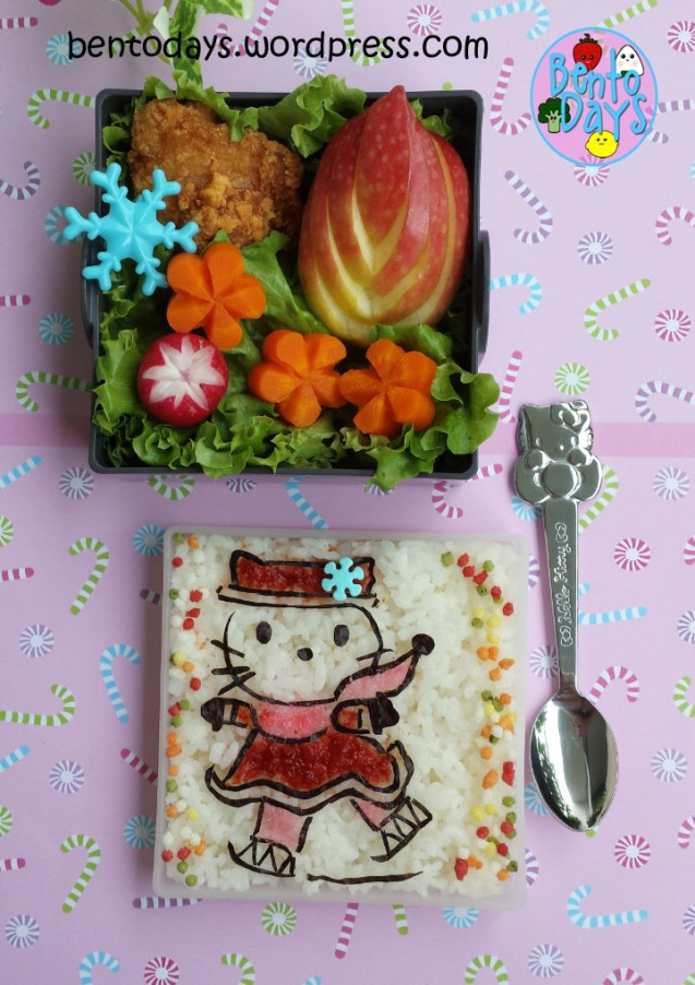Winter bento: Hello Kitty Ice Skating | Bento Days