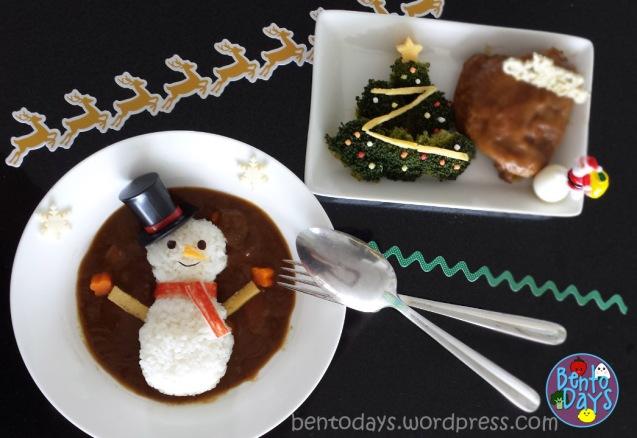 Christmas bento: Snowman onigiri and broccoli Christmas tree | Bento Days