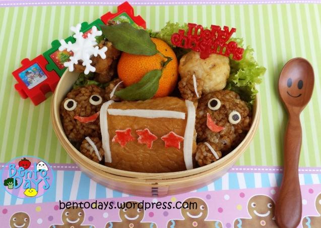 Christmas bento: Gingerbread men building gingerbread house | Bento Days