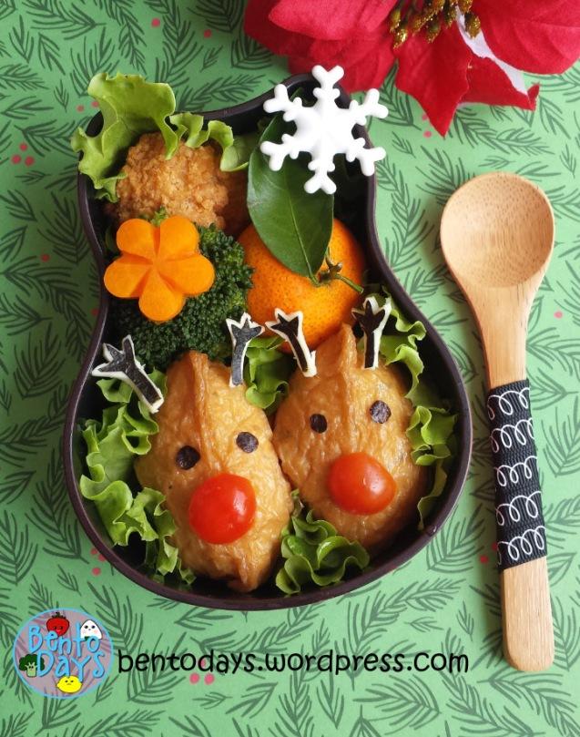 Christmas bento: Reindeer inari sushi | Bento Days