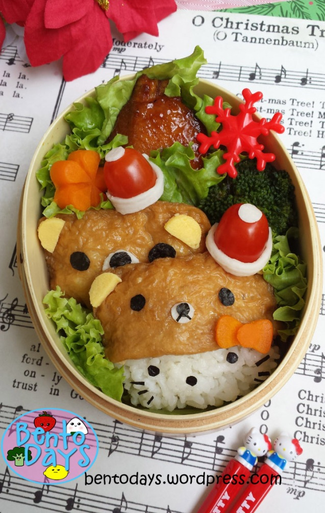 Christmas bento: Rilakkuma and Hello Kitty | Bento Days