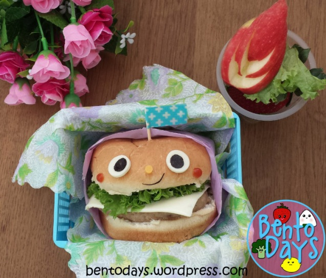 Smiling face burger bento | Bento Days