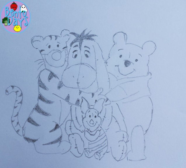 Drawing of Winnie the Pooh, Tigger, Eeyore, Piglet | Bento Days