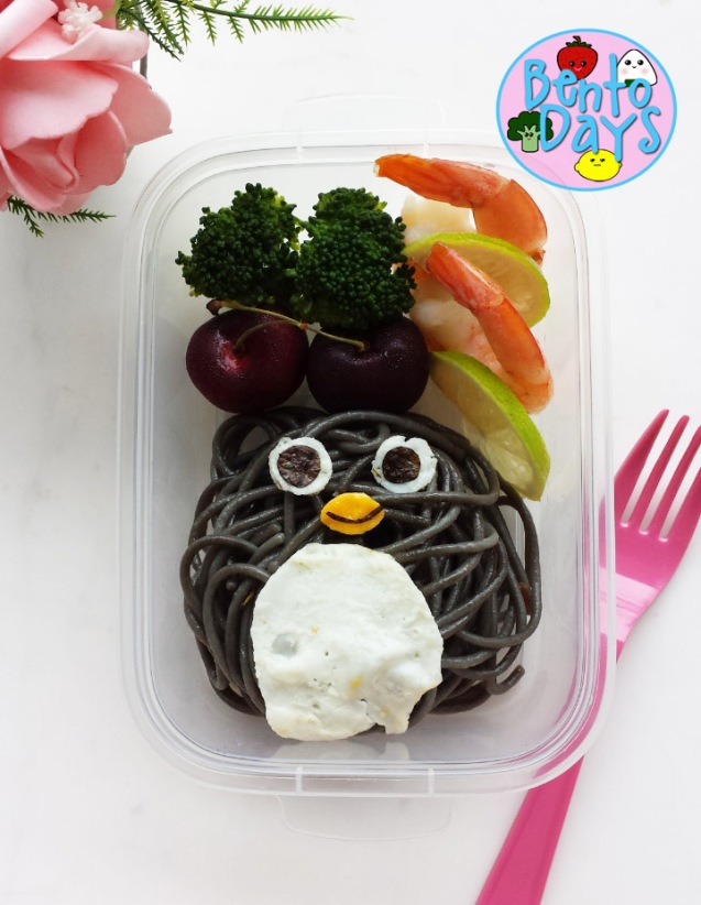 Squid Ink Pasta Penguin Bento | Bento Days