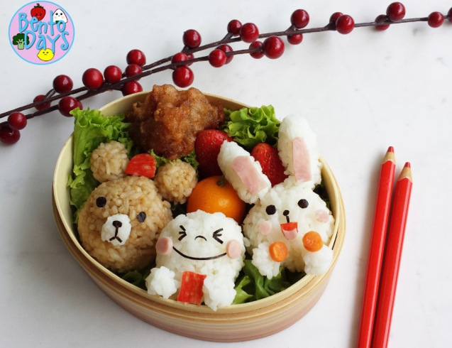 Chinese New Year LINE bento (Brown, Cony, Moon) | Bento Days