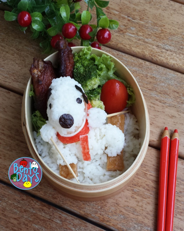 Winter Olympics lunch bento - Snoopy cross country skiing | Bento Days