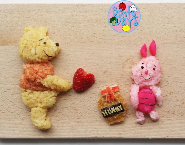 Winnie the Pooh Valentines food art, bento  Bento Days