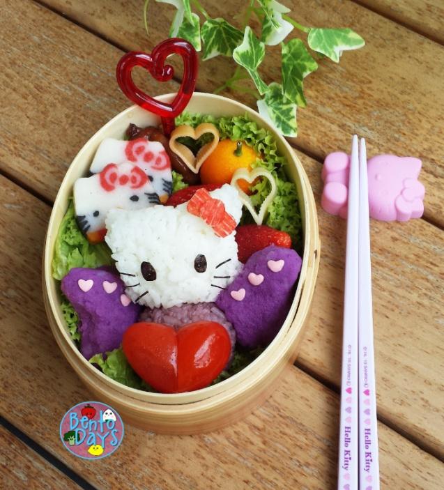 Hello Kitty Valentines bento, Hello Kitty butterfly   Bento Days