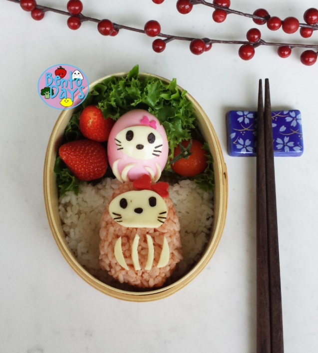 Hello Kitty Daruma bento | Bento Days