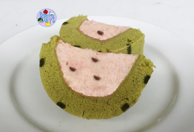 watermelon mousse cake using matcha swiss roll | Bento Days