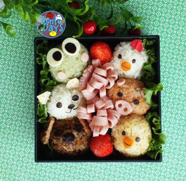 Farm animals onigiri | Bento Days