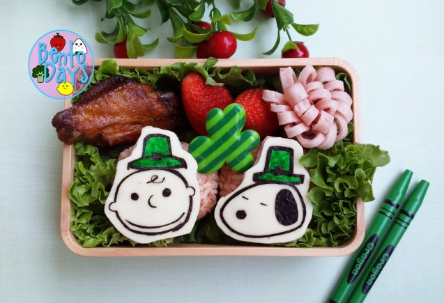 St Patrick's Day bento of Snoopy and Charlie Brown | Bento Days