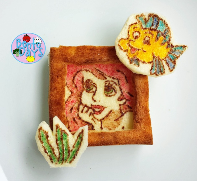 Little Mermaid Ariel photo frame toast art | Bento Days