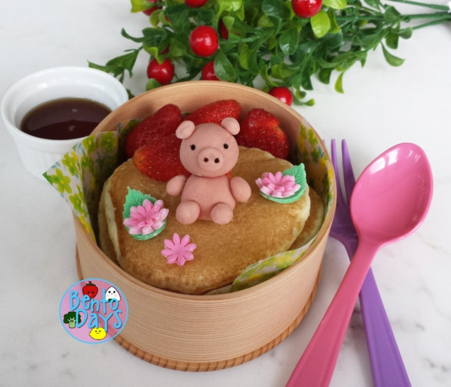 Piggy on pancakes bento | Bento Days