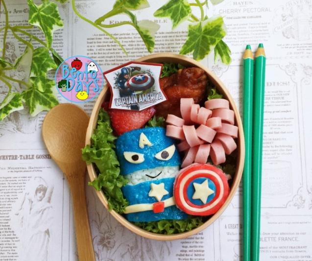 Captain America superhero bento food art | Bento Days