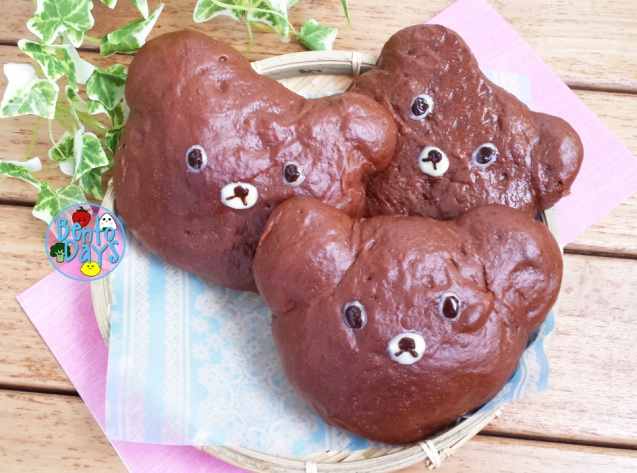 Chocolate teddy bear bread buns | Bento Days