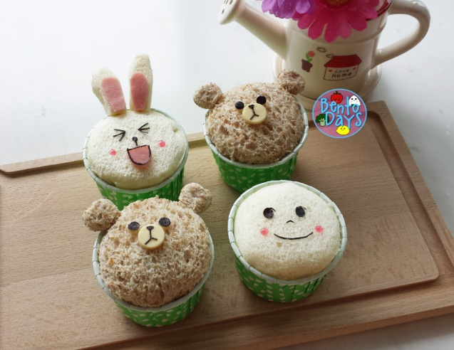 LINE bread cupcakes | Bento Days