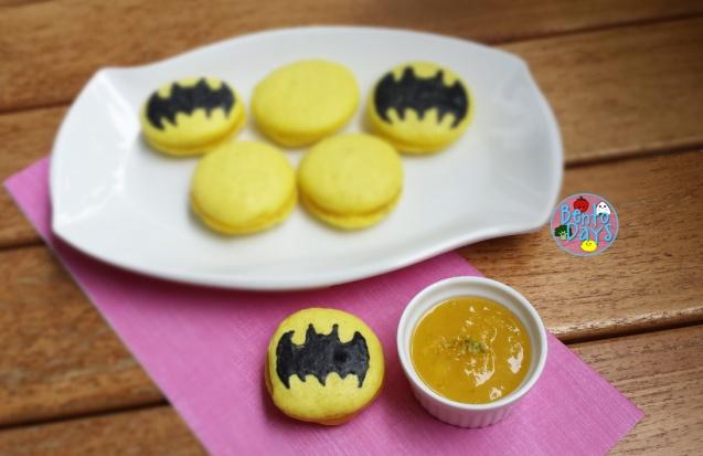 Batman macarons with lime curd | Bento Days