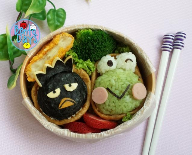 Keroppi and Badtz Maru sushi bento | Bento Days