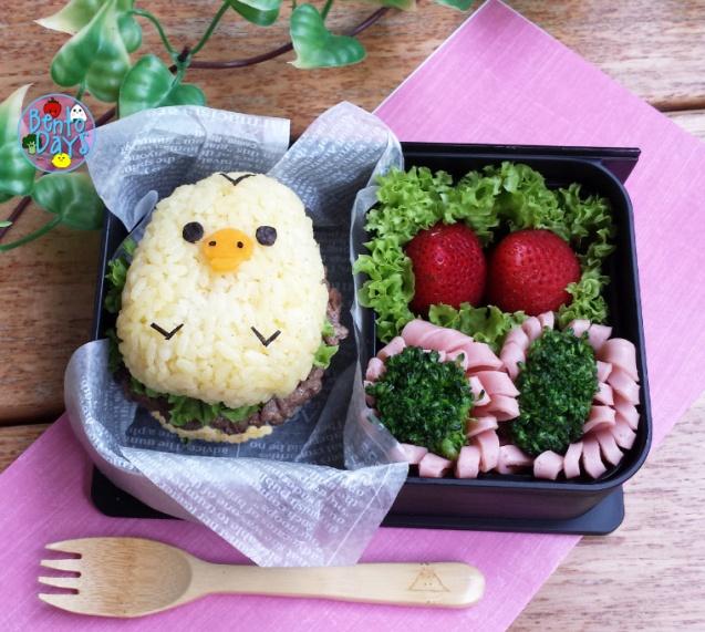 Kiiroitori rice burger bento | Bento Days