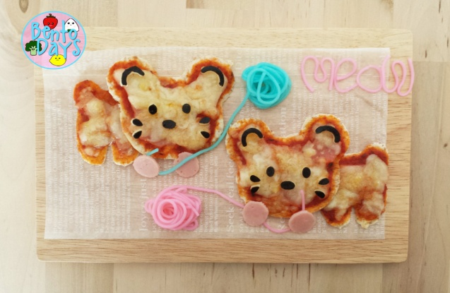 CuteZCute Cuddlepalz cats pizza bento | Bento Days