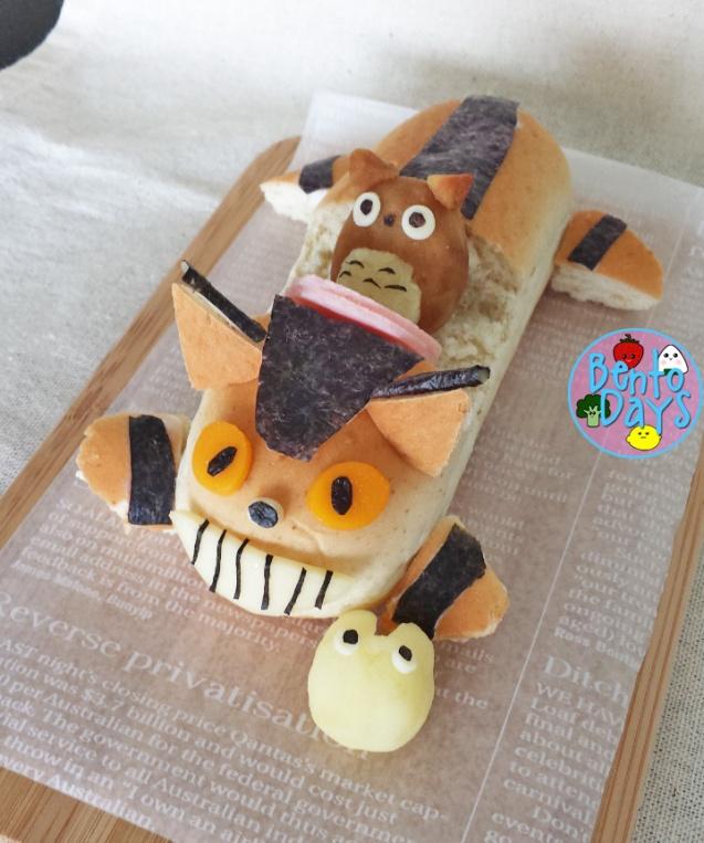 My Neighbor Totoro: Catbus Hotdog bun bento | Bento Days