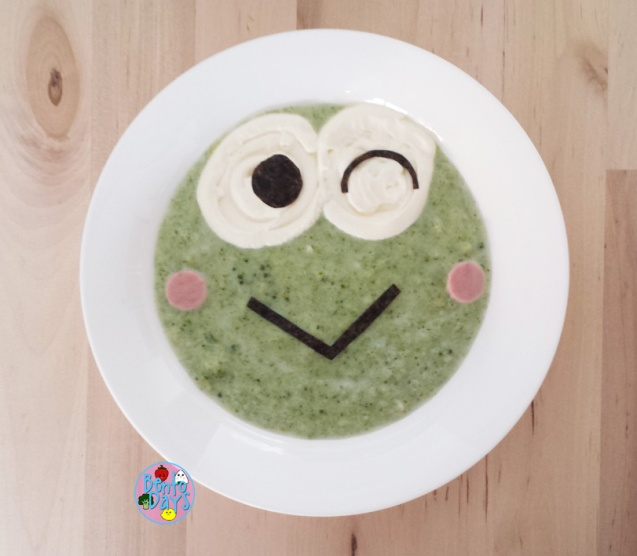 Keroppi soup art - cream of broccoli soup | Bento Days
