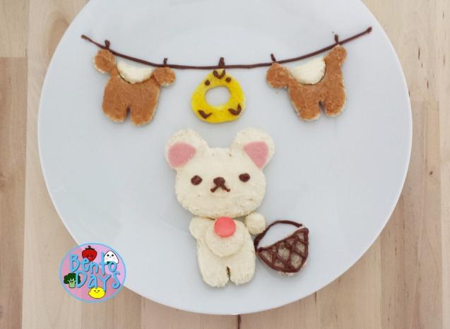 Korilakkuma laundry food art using CuteZCute CuddlePalz cutters | Bento Days