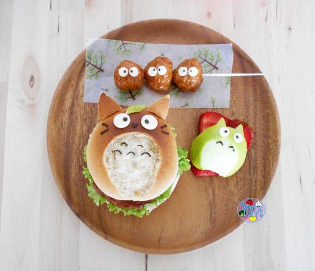 Totoro burger bento food art