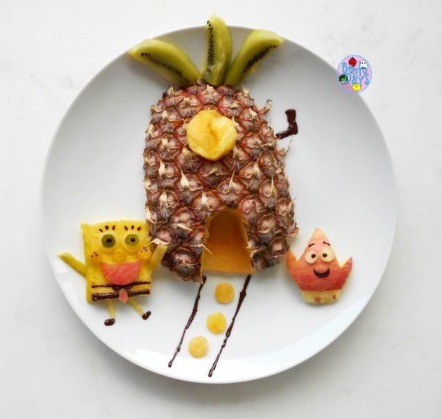 Spongebob fruit platter food art