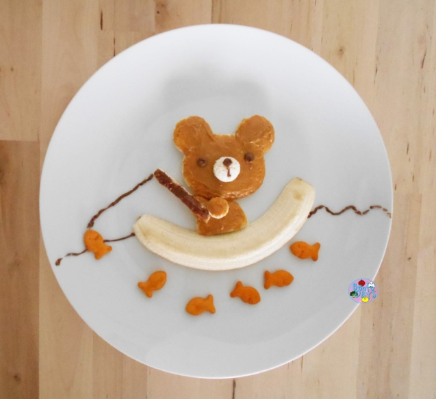 Bear fishing food art bento