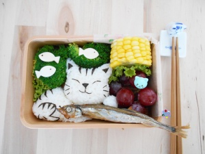Cat with Shishamo Fish bento